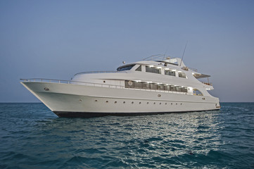 Luxury private motor yacht at sea
