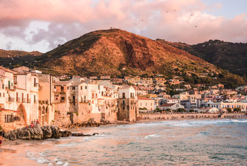 Cefalu panoramic view of harbor at sunset, Palermo, Sicily.