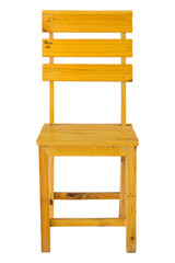 front view of wooden chair isolated on white with clipping path