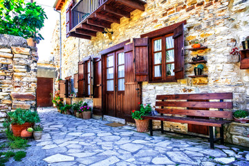 Deurstickers Cyprus Beautiful floral streets and houses of old traditional villages of Cyprus. Lefkara