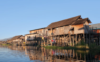 Village of Intha people over water on Inle lake, Shan state, Myanmar