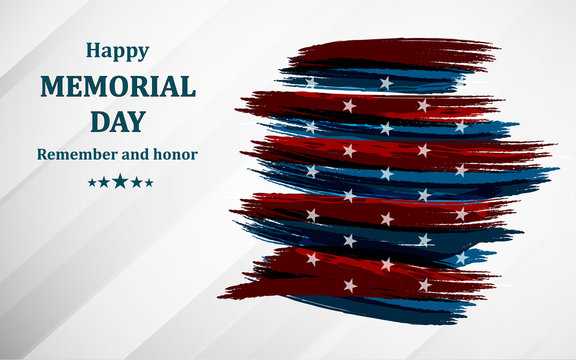 Happy memorial day. Poster or banner of happy veterans day with u.s.a flag background. Vector Illustration.