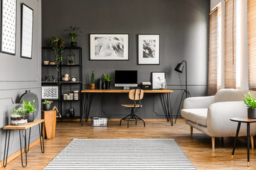 Grey freelancer's room interior