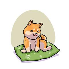 Cute Shiba inu relax on pillow, vector illustration cartoon style
