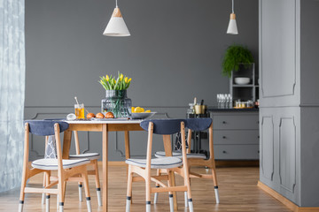 Dining table in kitchen