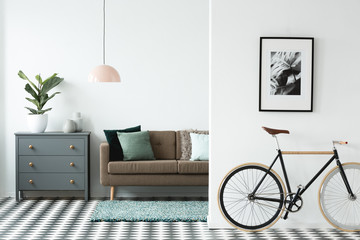 Black bike in living room
