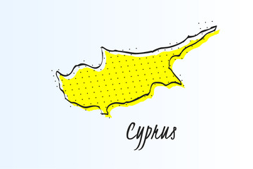 Map of Cyprus, halftone abstract background. drawn border line and yellow color