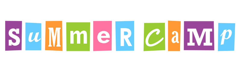 """""""SUMMER CAMP"""" Multicoloured Vector Letters Banner"""