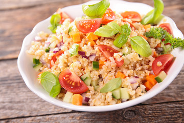 quinoa salad with tomato,avocado,cucumber and basil