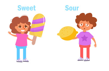 Sour and sweet Vector. Cartoon