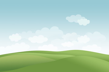 summer hills with clouds