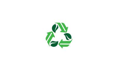 recycle leaf arrow emblem symbol icon vector logo