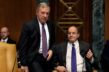 Senators Dick Durbin (L) and Richard Shelby (R) arrive before the Senate Appropriations Defense Subcommittee hearing on funding for the Department of Defense, on Capitol Hill in Washington
