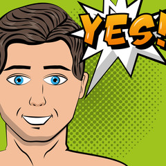 man speech bubble yes text pop art comic vector illustration