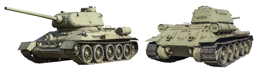 Russian t-34 tank isolated on white background