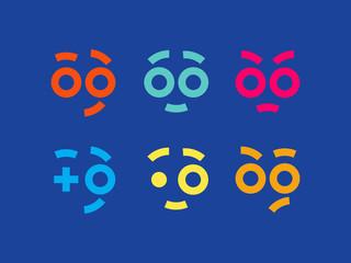 Emoji set. Modern professional icons smile in blue theme