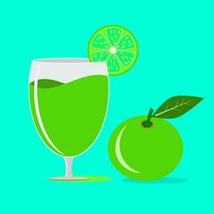 fresh lemon or lime juice in glass ,illustration vector.