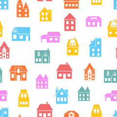 Seamless pattern of houses.