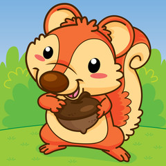 Squirrels are holding walnut, Cute  cartoon, Cute vector