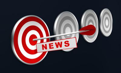 """Pfeil mit """"NEWS"""" auf Zielscheibe, Konzept."""