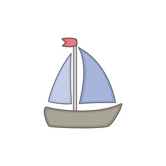 Sailboat vector icon isolated on white background. Vector illustration.