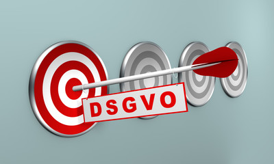 """Pfeil mit """"DSGVO"""" auf Zielscheibe, Konzept. 3d render"""