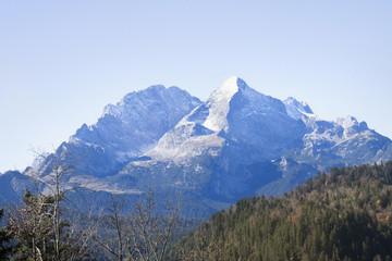 Scenic view of snowcapped mountain in Bavarian alps, Alpspitz, Wetterstein Mountain, Bavaria, Germany