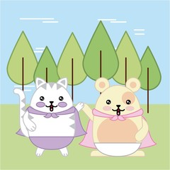 kawaii cat and mouse in forest animal cartoon vector illustration