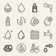 Set of 16 drop outline icons