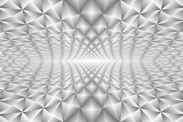 Metallic silver colors, abstract perspective background.