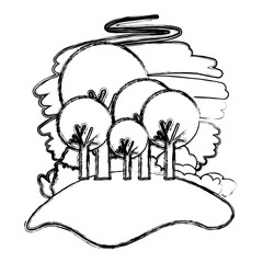 forest landscape natural scene vector illustration design