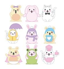 kawaii animals mouse kitty cat and rabbit cartoon vector illustration