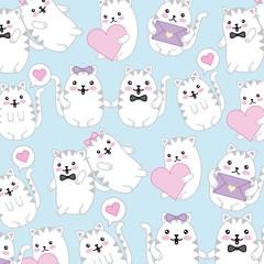 kawaii cute cats speech bubble love hearts wallpaper vector illustration