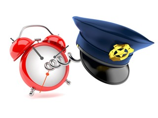 Police hat with alarm clock