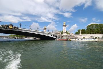 Pont Alexandre III; waterway; bridge; sky; river