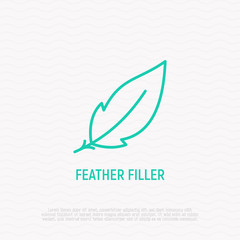 Feather filler sign. Modern vector illustration, thin line icon.