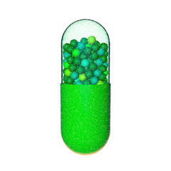 Capsule pill. Isolated on white background. Vector illustration.