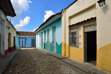 Facade of the colonial building in the Sancti Spiritus town on Cuba