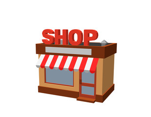 Store building. Isolated on white background. 3d Vector illustration.