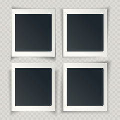 Blank photo frames with different shadows on the grunge transparent background, vector.