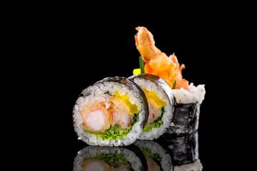 In de dag Sushi bar sushi on the black background