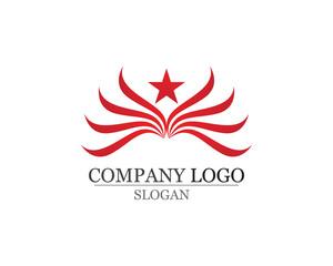 Falcon Eagle Bird and star Logo Template vector app