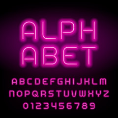 Pink neon tube alphabet font. Neon color letters and numbers. Stock vector typeface for your headers or any typography design.