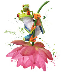 Two green frogs sitting on a flower