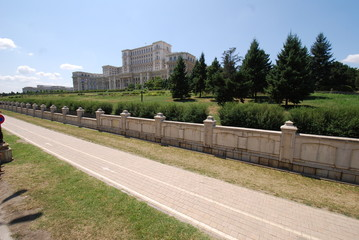 Palace of the Parliament; wall; road; sky; walkway