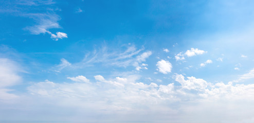 Panorama of the blue sky with white clouds