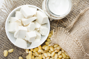 Fresh organic soy products:soy milk, soy yogurt, soy chese tofu and soy beans
