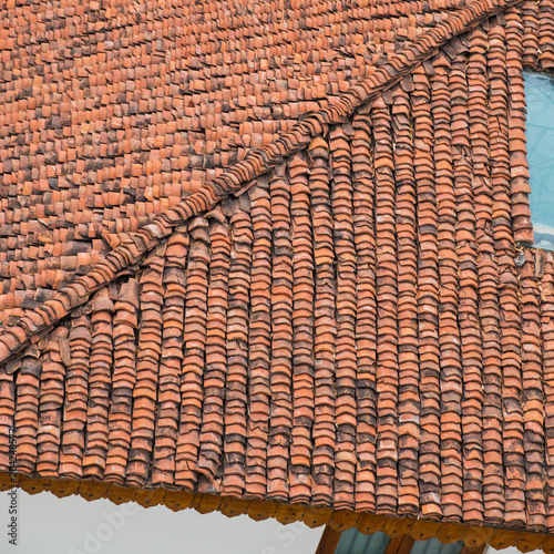 Patterned formed by Indian clay roof tiles