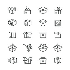 Box related icons: thin vector icon set, black and white kit