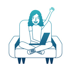 woman with laptop in the sofa character vector illustration design
